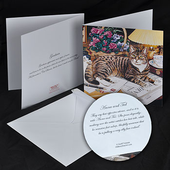 Greeting cards however you can also choose which cats you want by listing the names from the cat paintings page use the contact page to submit your list m4hsunfo